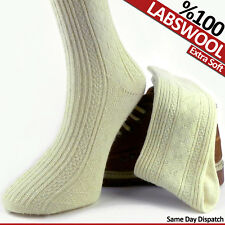 PAIR OF THICK UNISEX PURE KNITTED %100 LAMBSWOOL WOOL WOOLEN ALL SEASON SOCKS