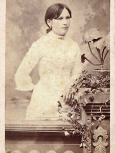 Young Woman in White - 1880s CDV Photo - J.D. Strunk - Reading, PA