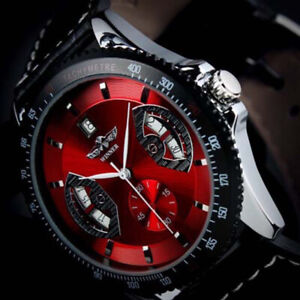 WINNER Mens Automatic Mechanical Luxury Leather Strap Sports Wrist Watches Gifts