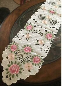 """Pink Rose & Daisy Table Runner Dresser Scarf 68""""x 13"""" Embroidered Rose Design"""