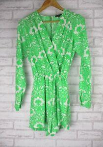 Sheike Sz 6 Playsuit/jumpsuit Green, white print V-neck Long sleeve