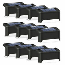12Pcs Solar LED Deck Lights Outdoor Path Garden Stairs Step Fence Lamp Black