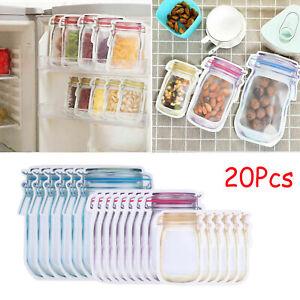 UK 20Pcs Reusable Mason Jar Bottles Bags Fresh Food Storage Snacks Zipper Pouch