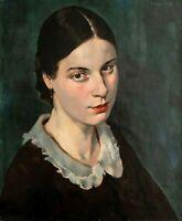 Franz Aumer - Weibliches Porträt - Öl auf Papier - 1932