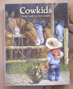 12 Leanin Tree Note Cards COWKIDS , Little Cowboys & Cowgirls, Horses, Country