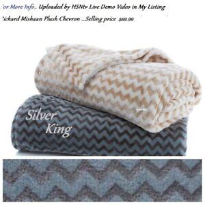Richard Mishaan  Silver / Gray Chevron Print  Plush Fur Blanket  - king