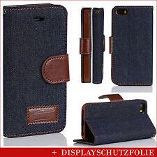 Für iPhone SE 5 5s Handy Schutz Hülle Tasche Dunkle Jeans Kunst Leder Stoff