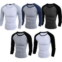 Mens Plain Full Sleeve T Shirt Slim Fit Long Extended Crew Neck Casual Tops Tee