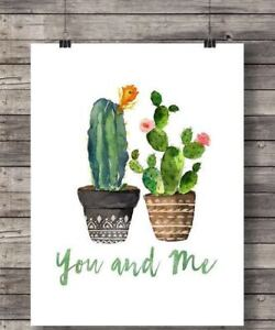 A4 MODERN WATERCOLOR PAINTING CACTUS ART PRINT WALL POSTER HOME DECOR *
