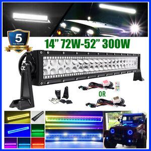"""12""""-52 inch RGB Halo Chasing Led Work Light Bar Strobe Flash Bluetooth/RF Remote"""