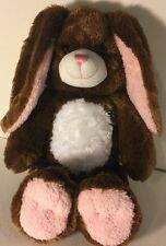 """Brown & Pink 17"""" Plush Build-a-Bear Bunny Rabbit Used Good Condition"""