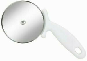 """1 Chef Aid Large Pizza Cutter Heavy Duty Stainless Steel 4"""" Wheel Slicer White"""