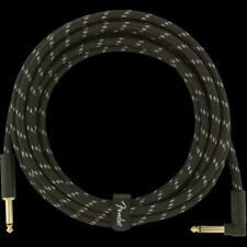 Fender Deluxe Series Straight to Angle Instrument Cable 15 Ft. Black Tweed
