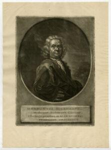 Rare Antique Master Print-PORTRAIT-HERMANUS BOERHAAVE-PHYSICIAN-De Groot-c.1740