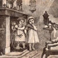 Antique Victorian Art print engraving 1873 Santa Claus Children wait Christmas