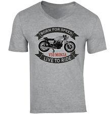 Moto GUZZI V50 Monza-nuevo gris de algodón con cuello en V Camiseta