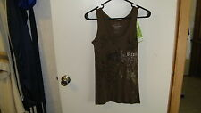 REALTREE GIRL LADIES OUTFITTERS VINES TANK TOP, MEDIUM, 100% COTTON, BROWN, NWT