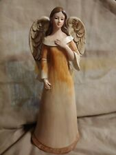 Angel Figurine~Woman/Girl~Rust and Cream Colored Dress~Hand on Chest~10 inches *