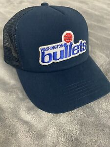 Washington Bullets Classic Throwback Logo Navy Blue Trucker Mesh Hat Cap NEW 🏀