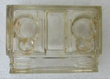 1940's Vintage Old Glass Desk top Inkwell With Pen Holder Made in England