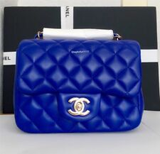 NIB Auth 2017 A35200 Blue Chanel Lambskin MINI Square Quilted Flap Classic Bag