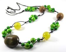 CERAMIC BROWN, WOODEN GREEN & YELLOW BEAD BLACK CORD THONG STATEMENT NECKLACE.