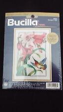 """Bucilla """"HUMMINGBIRD IN FLIGHT"""" CREWEL KIT PINK DAY LILLIES Large Chart NIP"""