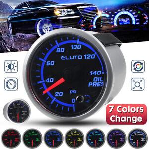 2'' 52mm 0-140 PSI Car Oil Press Pressure Gauge 7 Color LED Meter + Sensor  *