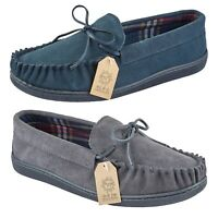 Mens Gents Suede Leather Slip On Moccasin Comfort Slippers Loafer Shoe Size
