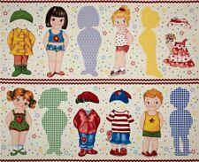"Today mod Jumbo 16"" Paper Dolls rag doll cut and sew 100% Cotton 36"" x 44"" panel"