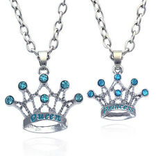 Special Gift for Mom Daughter QUEEN PRINCESS Aqua Blue Tiara Crown Necklace Set
