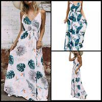 Ladies Boho Tropical Floral Leaf Palm Print Beach Long Maxi Dress CoverUp Dress