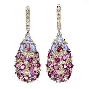 Unheated Oval Rhodolite Garnet Sapphire Tanzanite 925 Sterling Silver Earrings