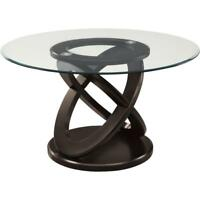 "48""DIA / ESPRESSO WITH TEMPERED GLASS DINING TABLE( ONLY TABLE)"