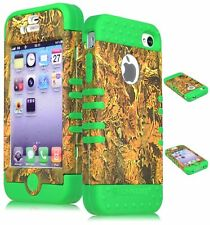 For iPhone 4, 4S Hybrid Camo Leaves Brown Hard Case / Green Silicone Cover
