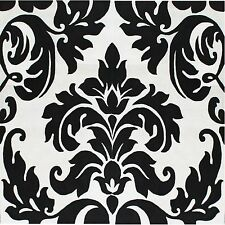 Black Damask On White Coasters Set Of 4 Fabric Top / Rubber Backed