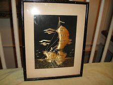Vintage Chinese Or Japanese Bamboo Artwork Of Fishing Or Sailing Boat-Framed-#2