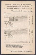 1895 HARRIS LARCOMBE&ANDERSON PRODUCE MERCHANTS FOR PORK, RABBITS, EGGS, WASH DC