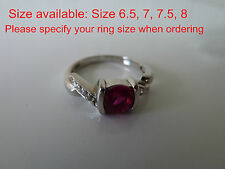 925 Sterling Silver quality CZ Ring (Ruby) Size 6, 7, 7.5, 8 FREE POSTAGE, set