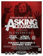 """ASKING ALEXANDRIA / BLESS THE FALL """"MOVING ON TOUR"""" 2014 SEATTLE CONCERT POSTER"""
