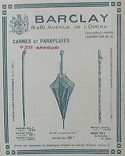 PUBLICITE BARCLAY CANNE GOLF MILITARY PARAPLUIE POUSSIN BLEU DE 1918 FRENCH AD