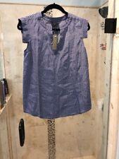 J CREW Margot Top in Silk 4 Small NWT $78 Blue Multi  Print Silk Blouse