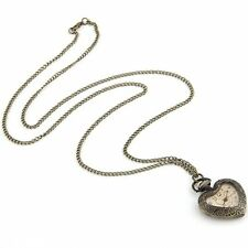 Vintage Antique Heart Shape Necklace Chain Quartz Movement Pocket Watch N3