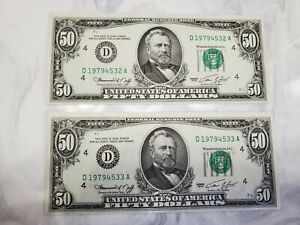 1974 $50.00 Fifty 2 Consecutive Sequential Federal Reserve Notes UNC CRISP