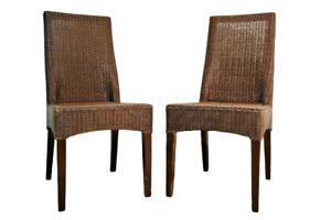 2 Moderne Rattan Stühle geflochten Stuhl Set Paar modern chair chaise *534