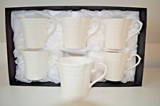Set of 6 Elegant White, New Bone China Coffee/Tea Mugs