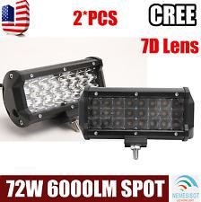 """2pcs 7"""" INCH 72W Spot Tri-Row Cree Led Work Light Bar Offroad 4WD ATV Jeep Truck"""