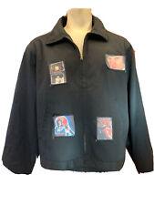 VTG Dickies Black Zip Jacket Gothic Punk Clockwork Orange Patches Front/back XL