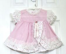 Vtg. Sesame Street Pink Ruffle Lace Floral S/S Dress+Bloomers Girl Sz 6/9 M