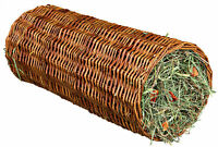 Wicker Tunnel with Hay & Carrot for Guinea Pigs Natural Tube Hideaway 33cm